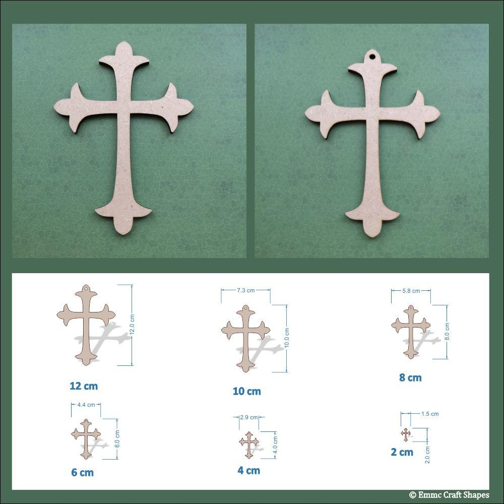 Dimensions of the crosses. Available from 2cm to 12cm