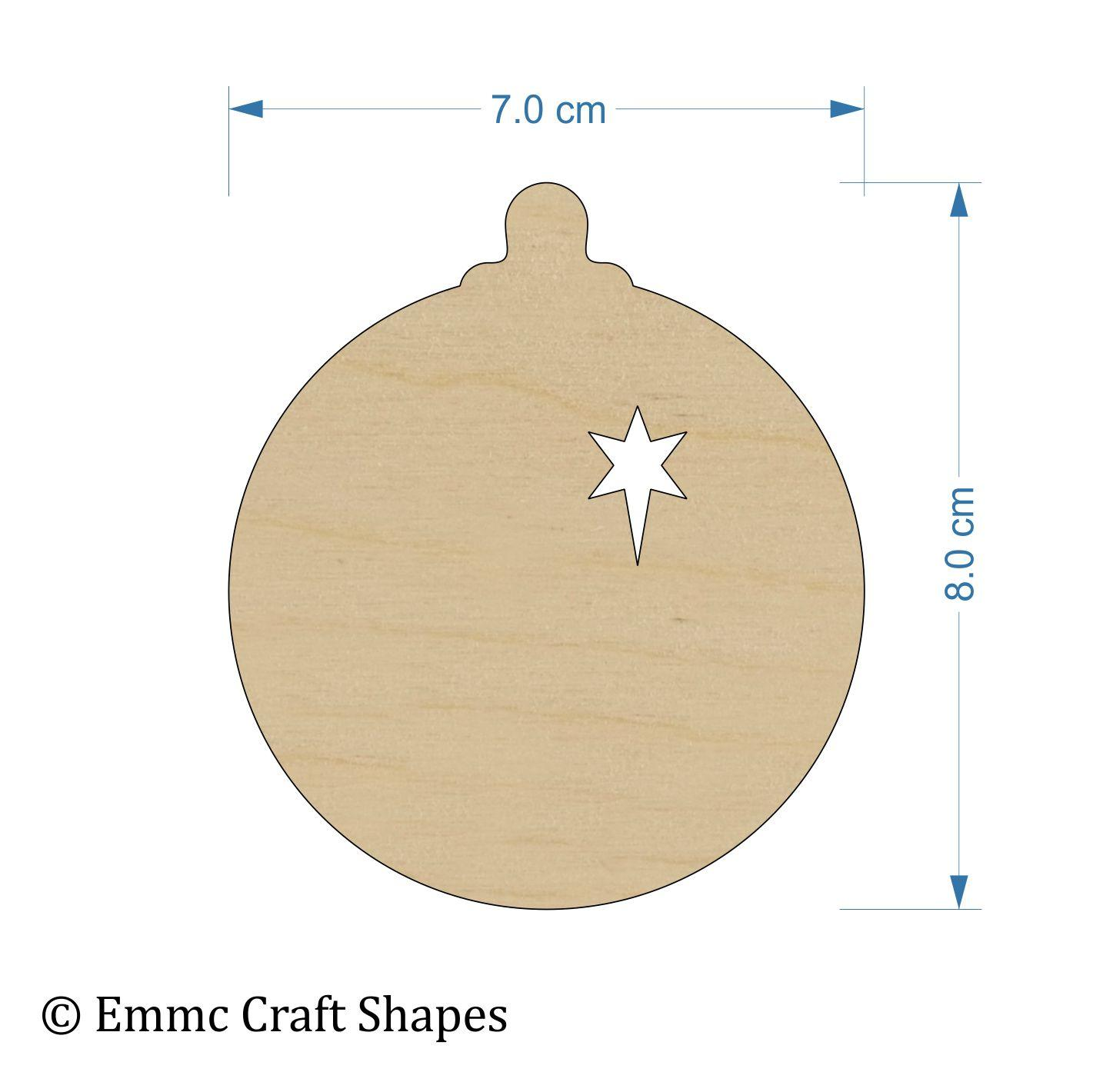 Plywood Bauble - 8 cm with Star Cut Out
