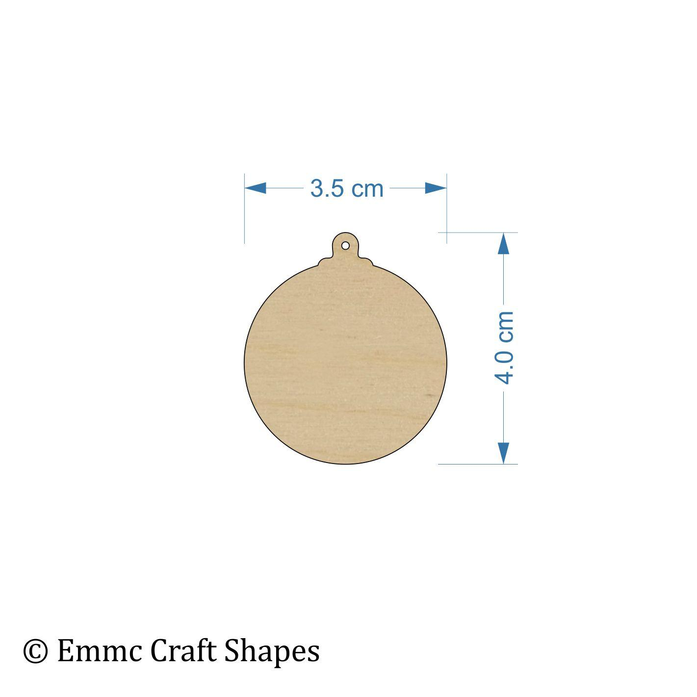 Plywood Bauble - 4 cm with Hanging Hole