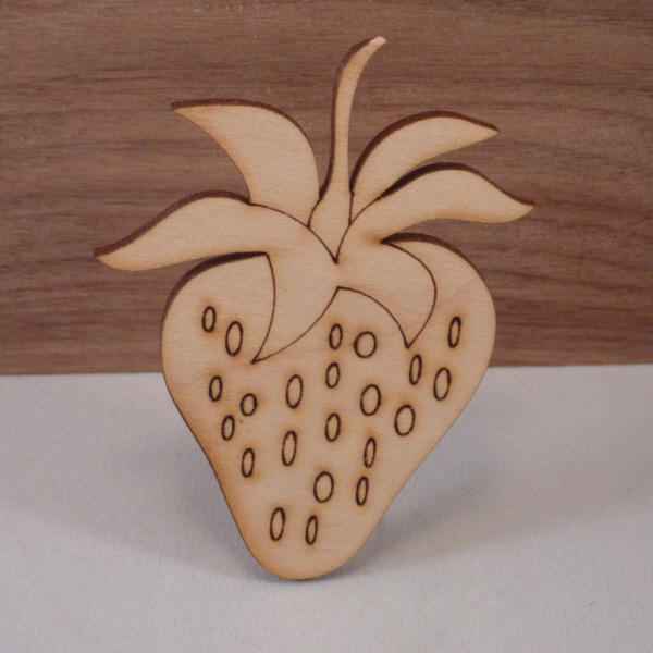 Plywood Strawberry Cut outs - 8 cm etched