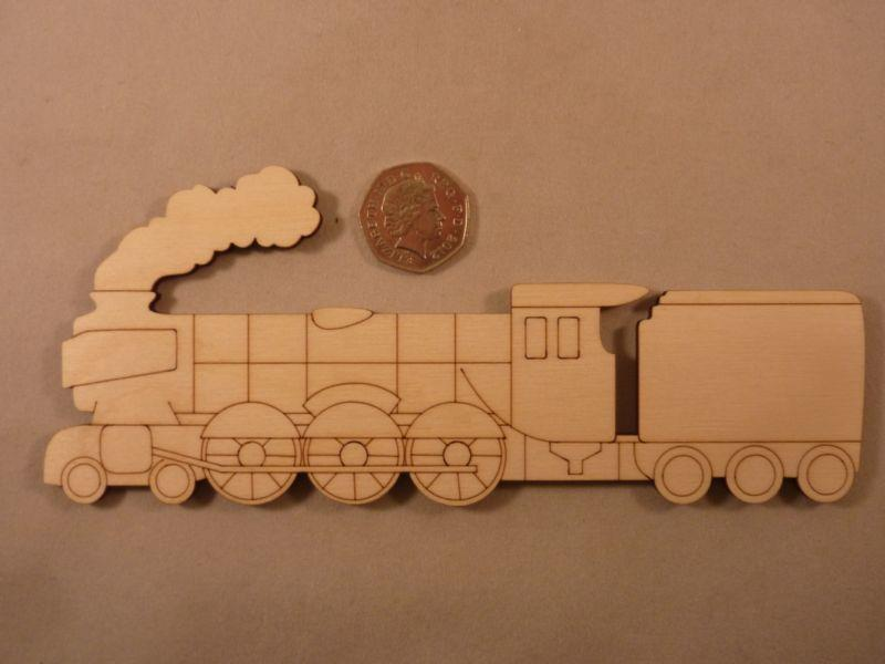 Plywood Steam Train Shape - 20 cm with etching