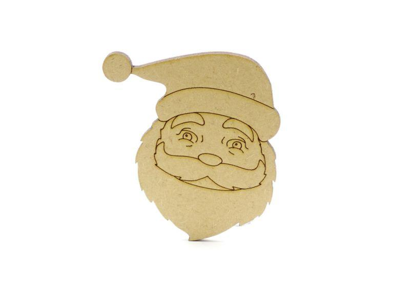 3 mm MDF Father Christmas Face with etched detail - 8 cm with not hanging hole