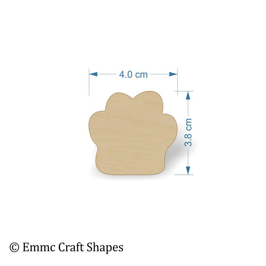 Plywood Cat/Dog Paw Print Tags - 4 cm blank