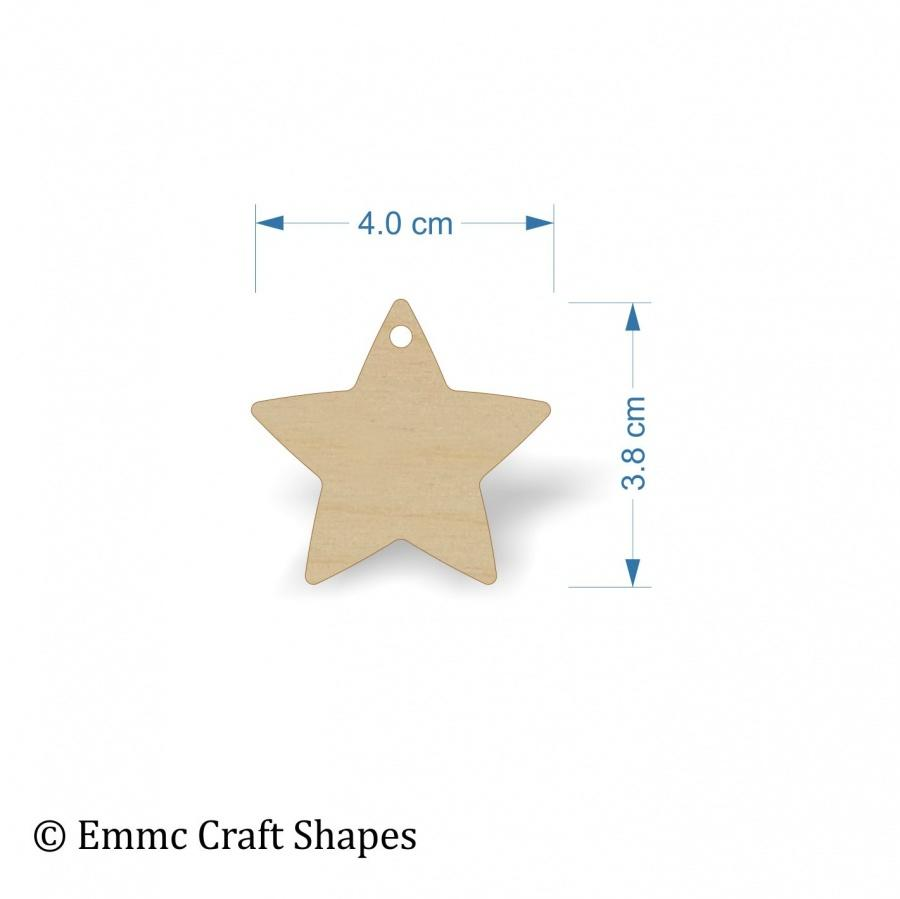 Plywood Star Shape - 4 cm with hanging hole