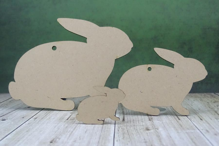3mm MDF Rabbit Craft Tags