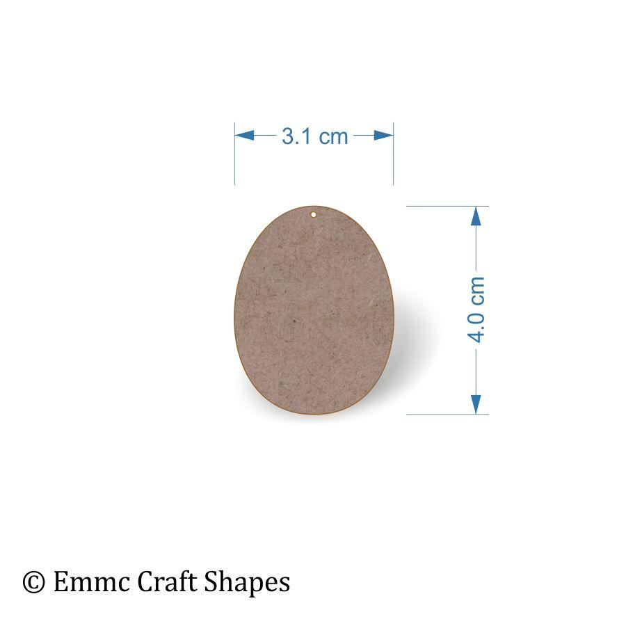 2 mm MDF egg shape with hole - 4 cm