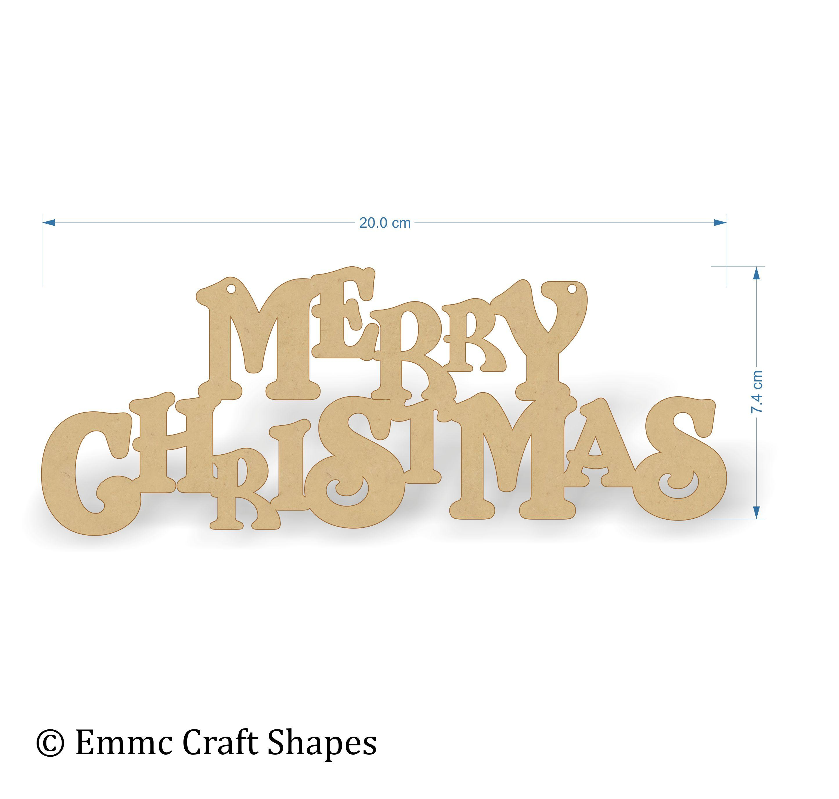 "3mm thick mdf ""merry Christmas"" text. 20 cm wide"