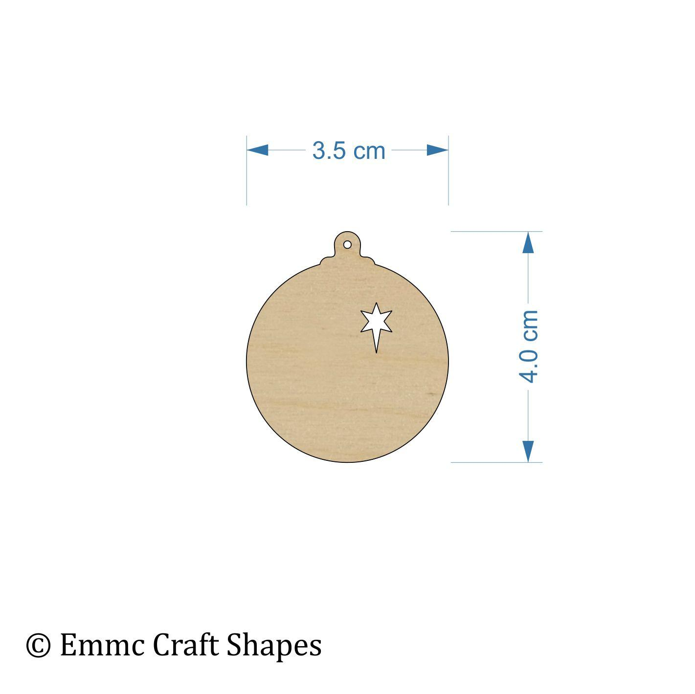 Plywood Bauble - 4 cm With Star Cut Out and Hanging Hole