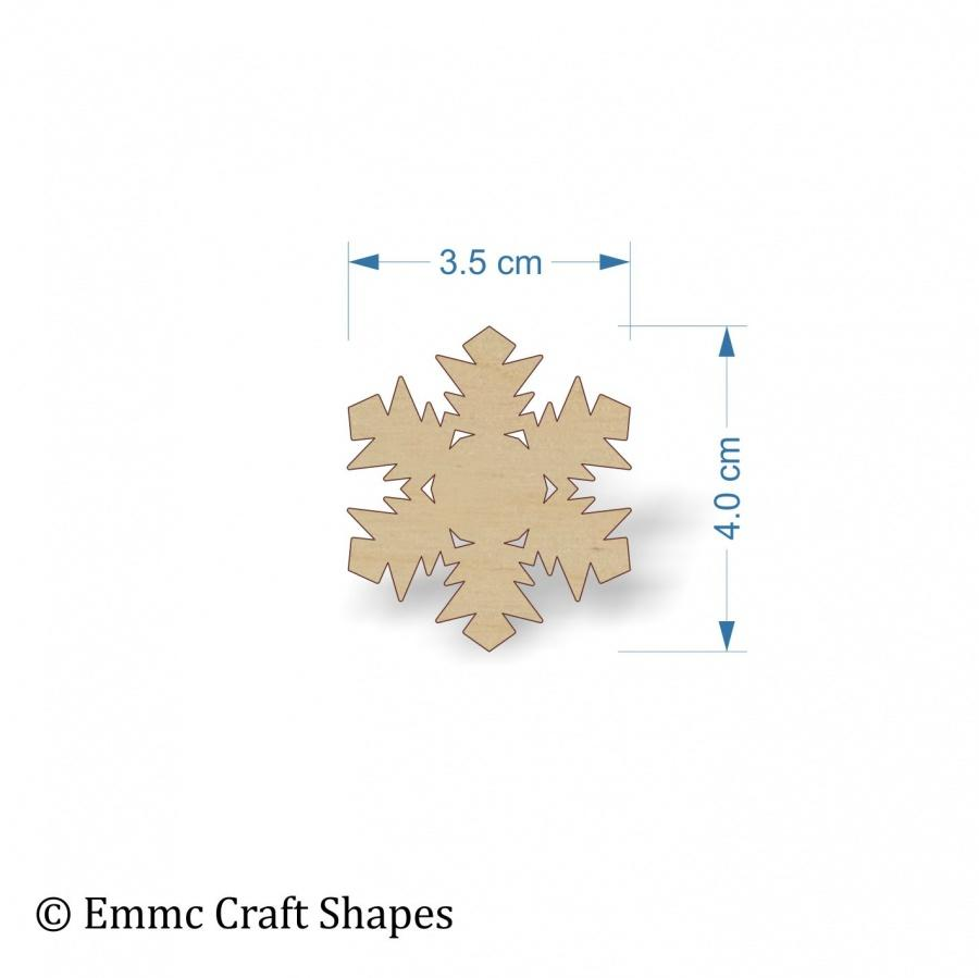 Plywood Snow Flake Cut Out - 4 cm without hanging hole