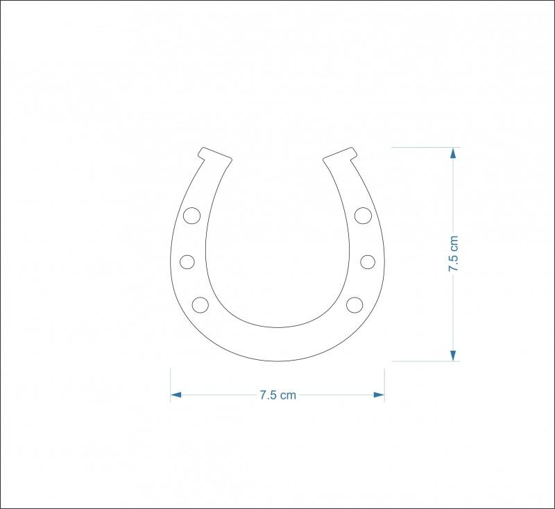 3mm MDF Horseshoe Craft Hanger/Tag - 7.5 cm with round holes