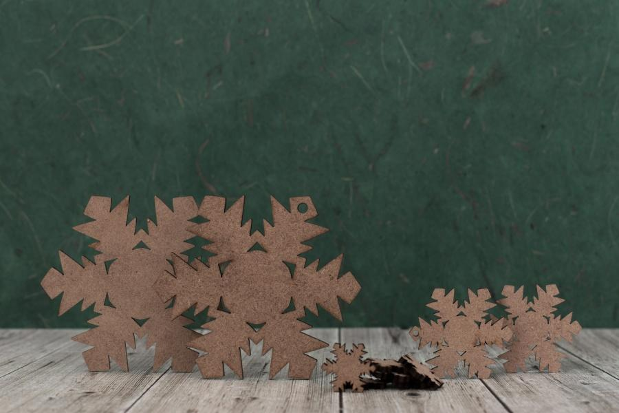 2mm MDF Snowflake Shapes