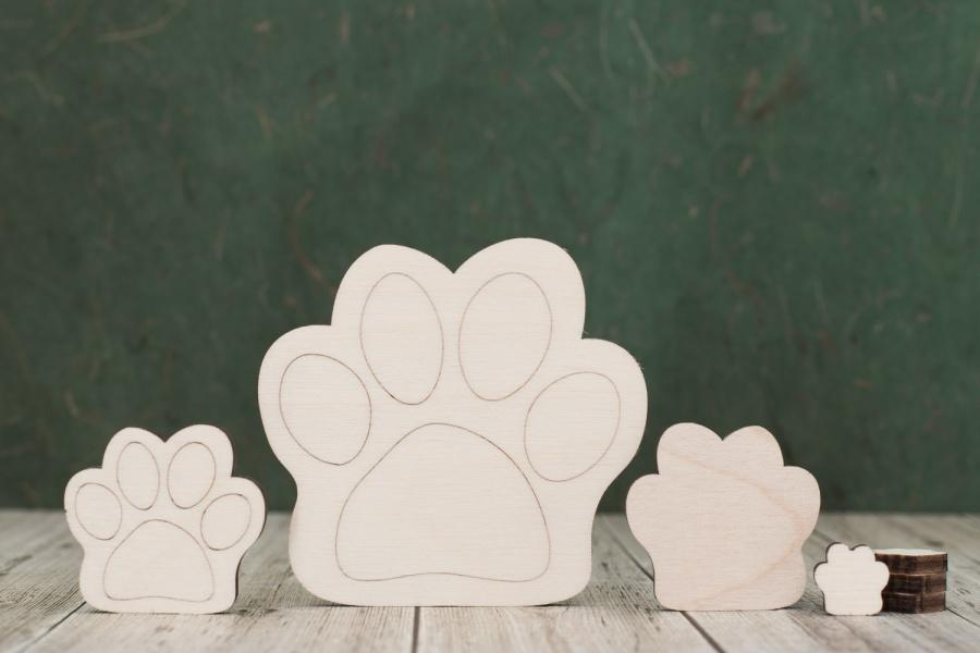Plywood Cat/Dog Paw Print Tags