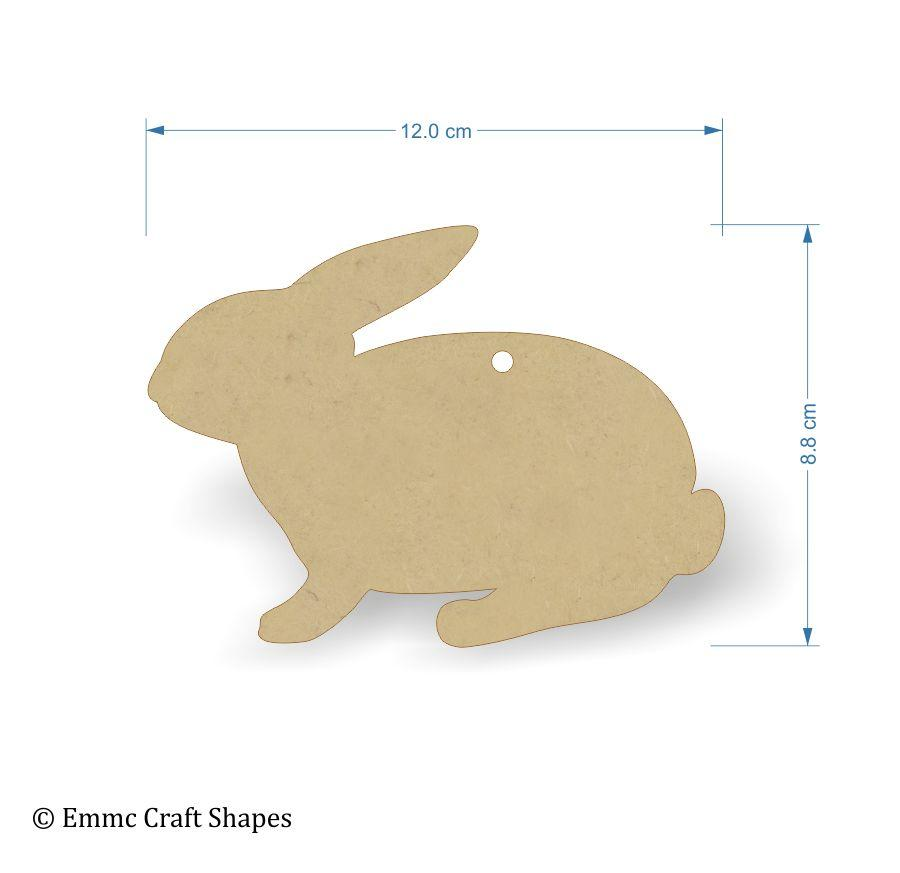 3mm MDF Rabbit Craft Tags - 12 cm with hanging hole