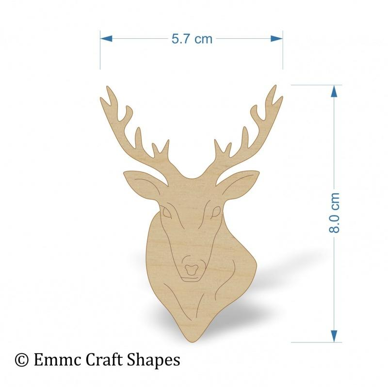 4 mm Plywood Stags Head - 8 cm