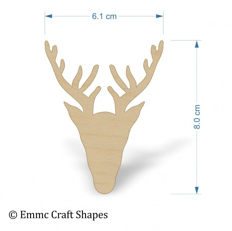 Plywood Scottish Stag Head Shape - 8 cm