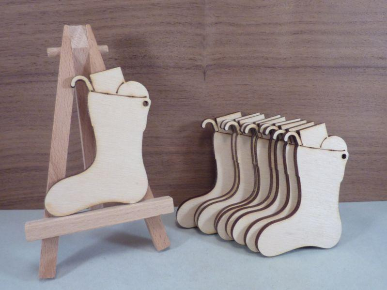 Plywood Christmas Stocking with Presents shape with hanging hole