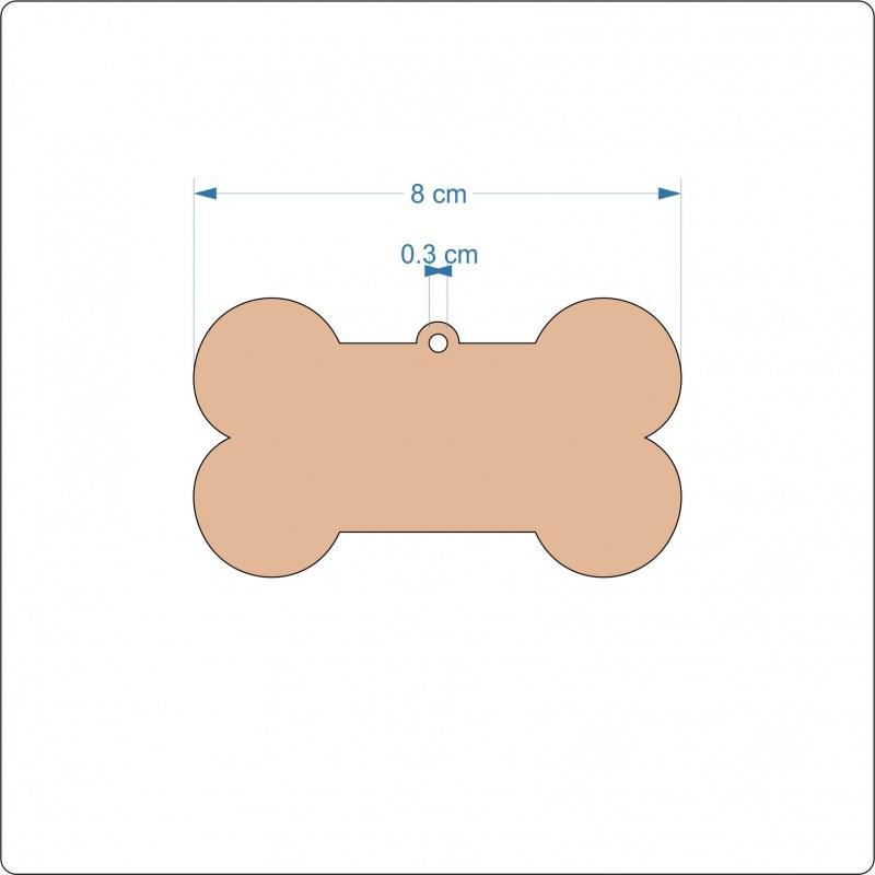 3 mm MDF Dog Bone Blanks - 8 cm with hanging hole