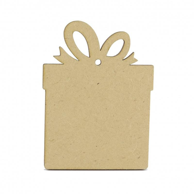 3mm MDF Wooden Present - 8 cm with hanging hole