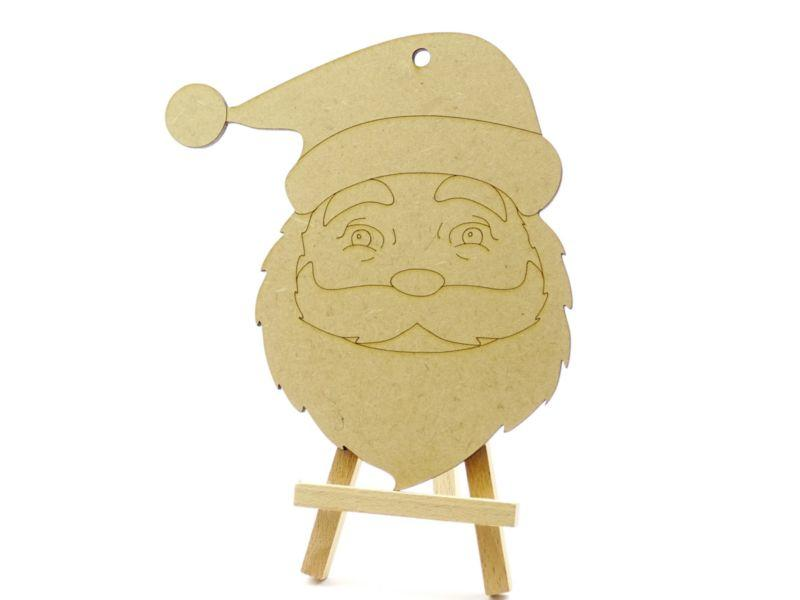 3 mm MDF Father Christmas Face with etched detail - 15 cm with hanging hole