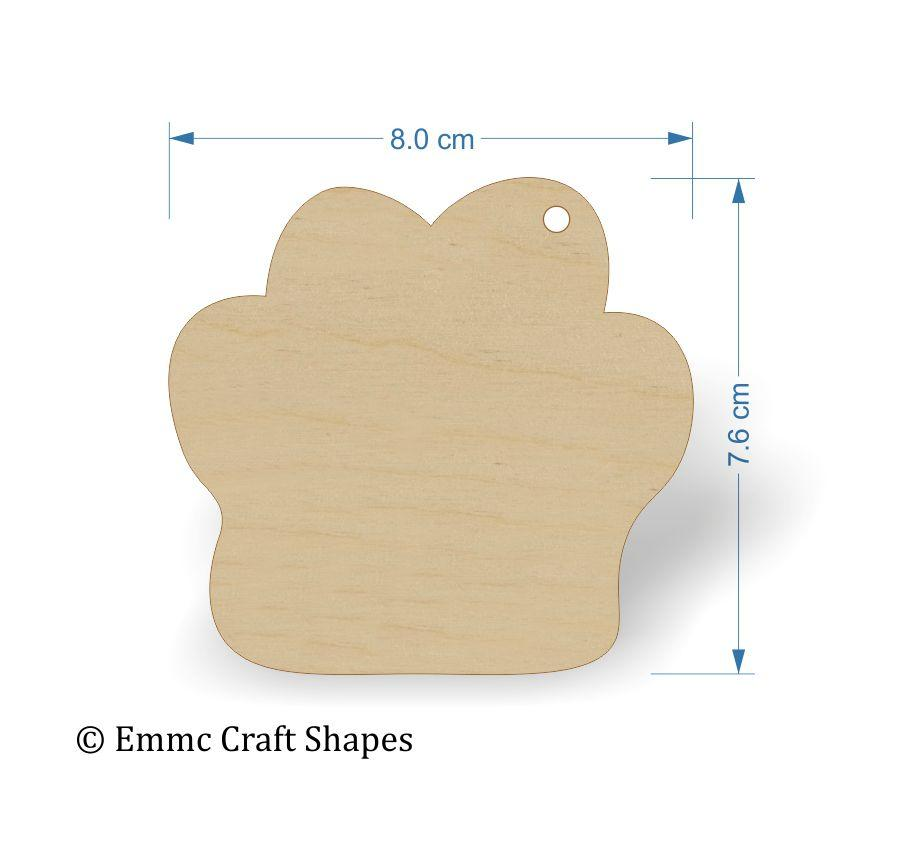 Plywood Cat/Dog Paw Print Tags - 8 cm with hanging hole
