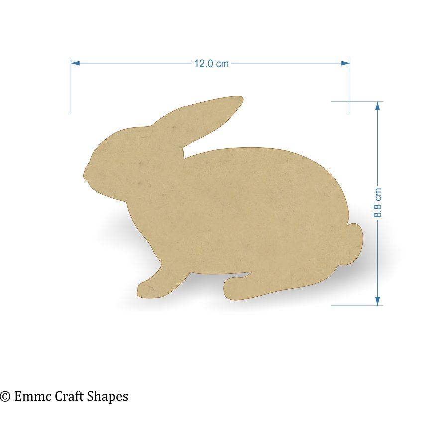 3mm MDF Rabbit Craft Tags - 12 cm