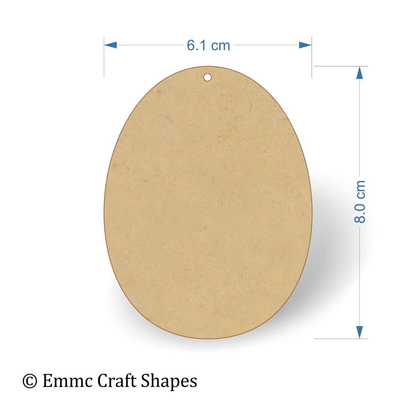 3 mm MDF Egg Shape - 8 cm with hanging hole
