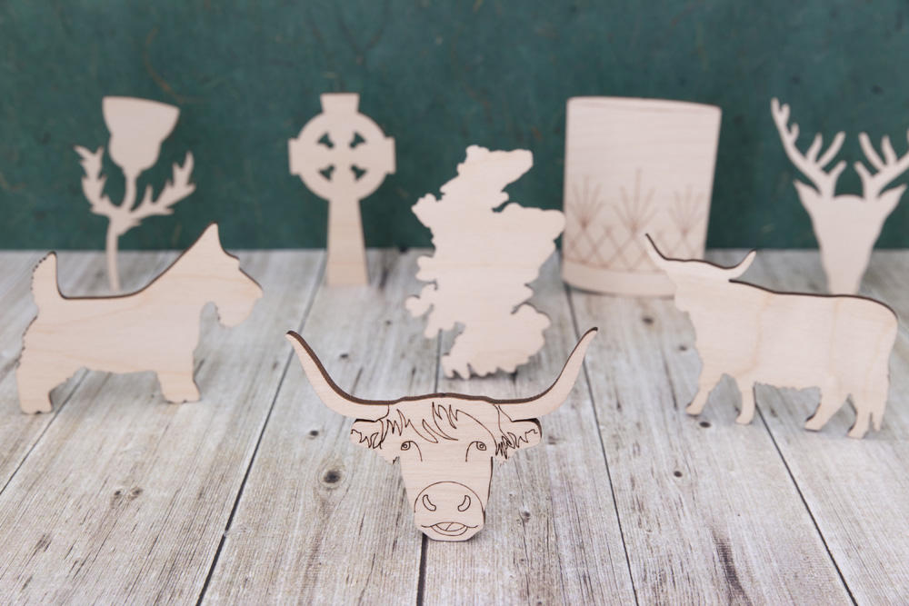 Wooden Scottish shapes