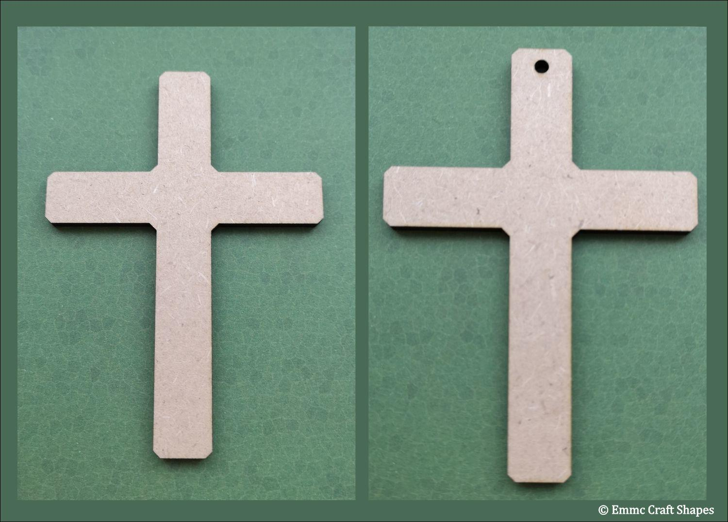laser cut, 3mm thick mdf cross shape. One with a hole one with no hole