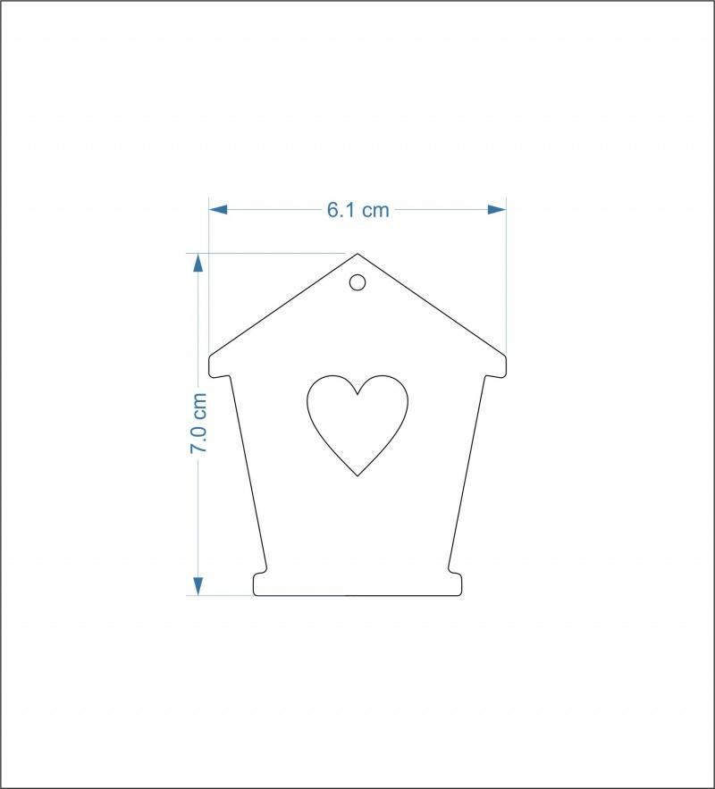 3mm thick mdf bird house fronts - 7 cm heart hole/hanging hole