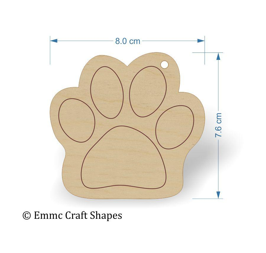 Plywood Cat/Dog Paw Print Tags -
