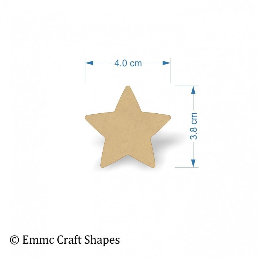 3mm MDF Star Shape Blank - 4 cm