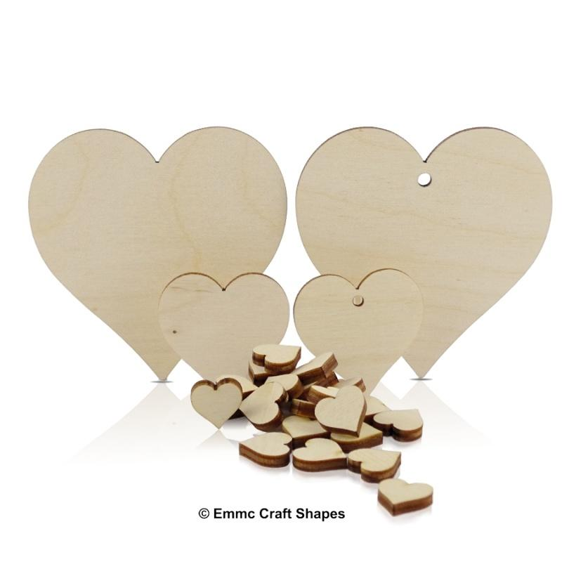 Plywood Hearts with hole and without hole