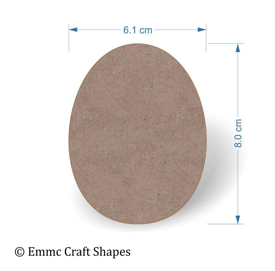2 mm MDF egg shape without hole - 8 cm