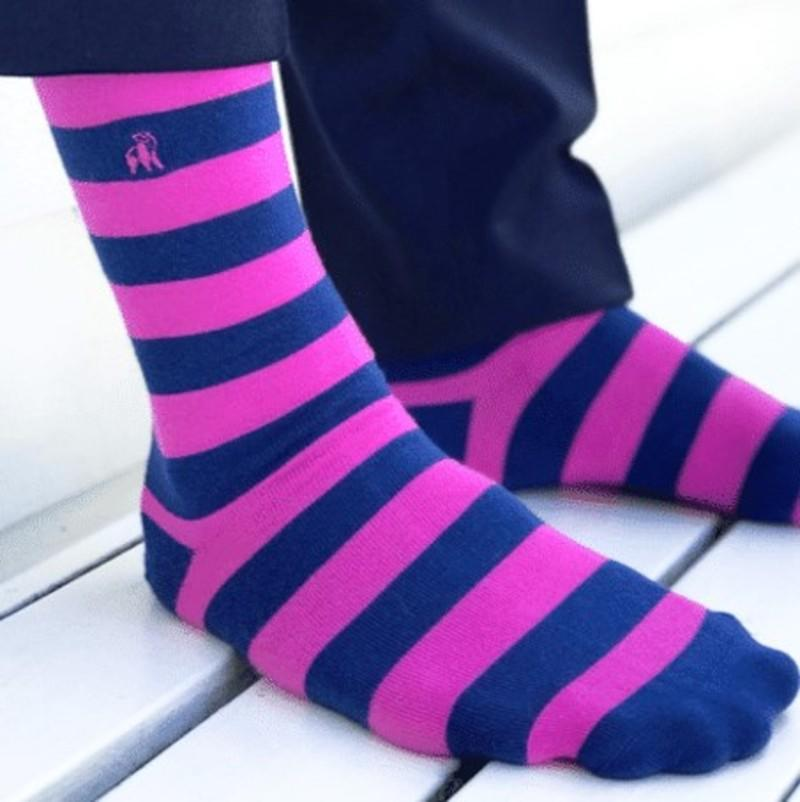 Pink Striped Bamboo Socks