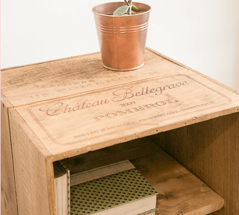 Tall Wine Crate Cabinet Top Angle