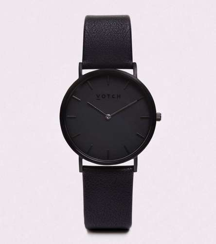 Black Vegan Leather Watch