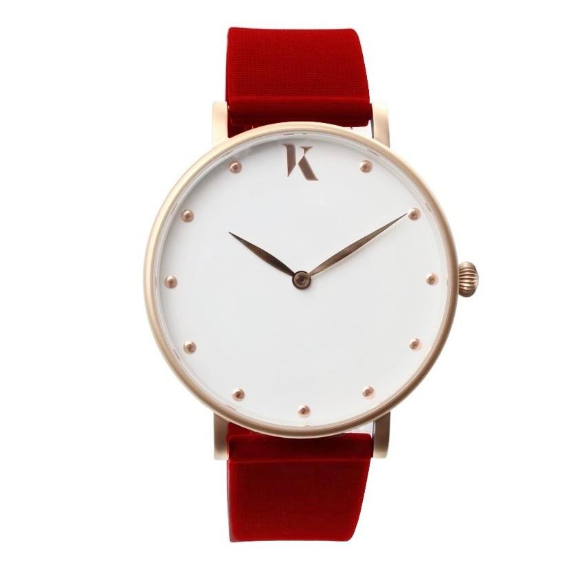 Ruby Red & Rose Gold Silicone Watch - Face