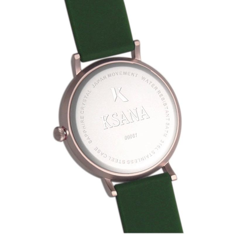 Emerald Green & Rose Gold Silicone Watch - Back