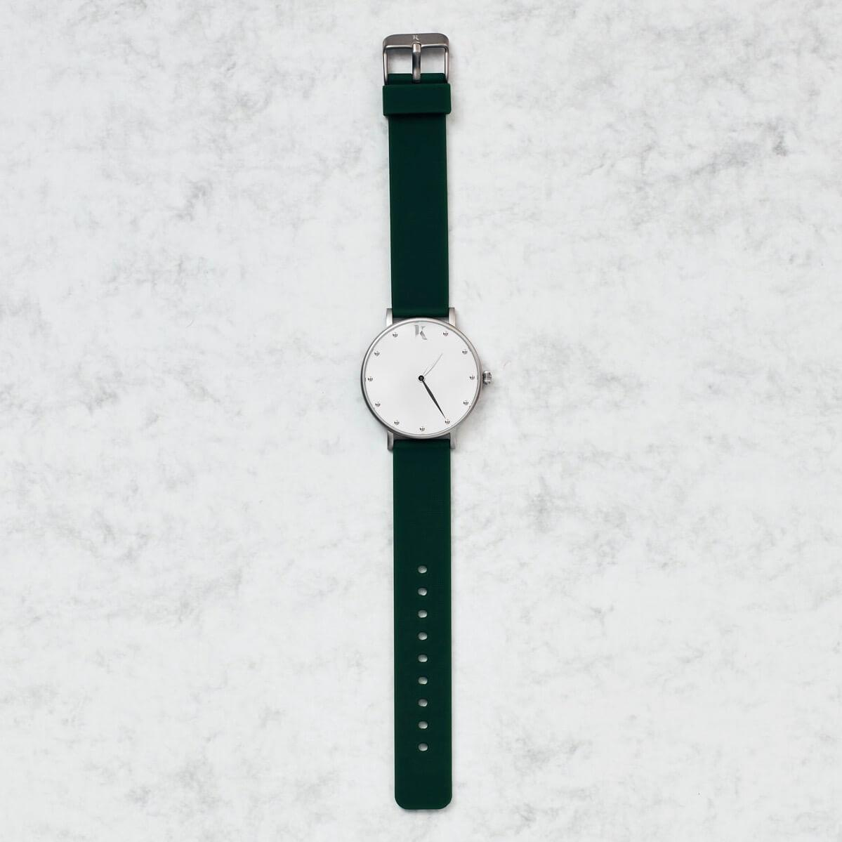 Emerald Green & Silver Silicone Watch