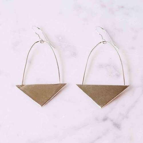 Shiny Flat Triangle Earrings