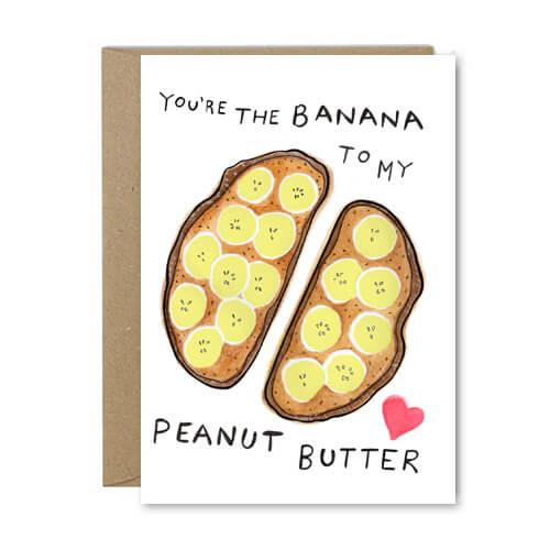 Banana To My Peanut Butter - Recycled Greeting Card