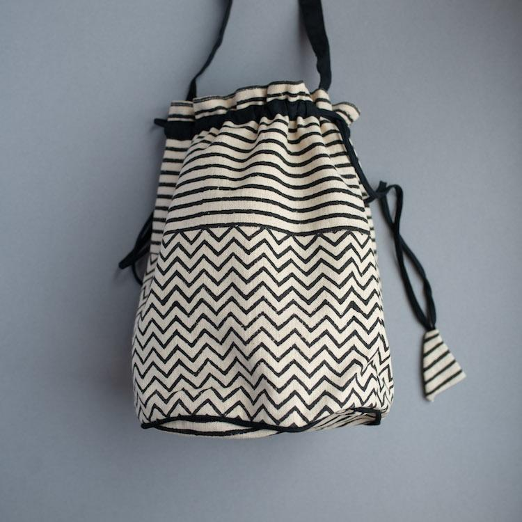Black Cotton Bucket Bag