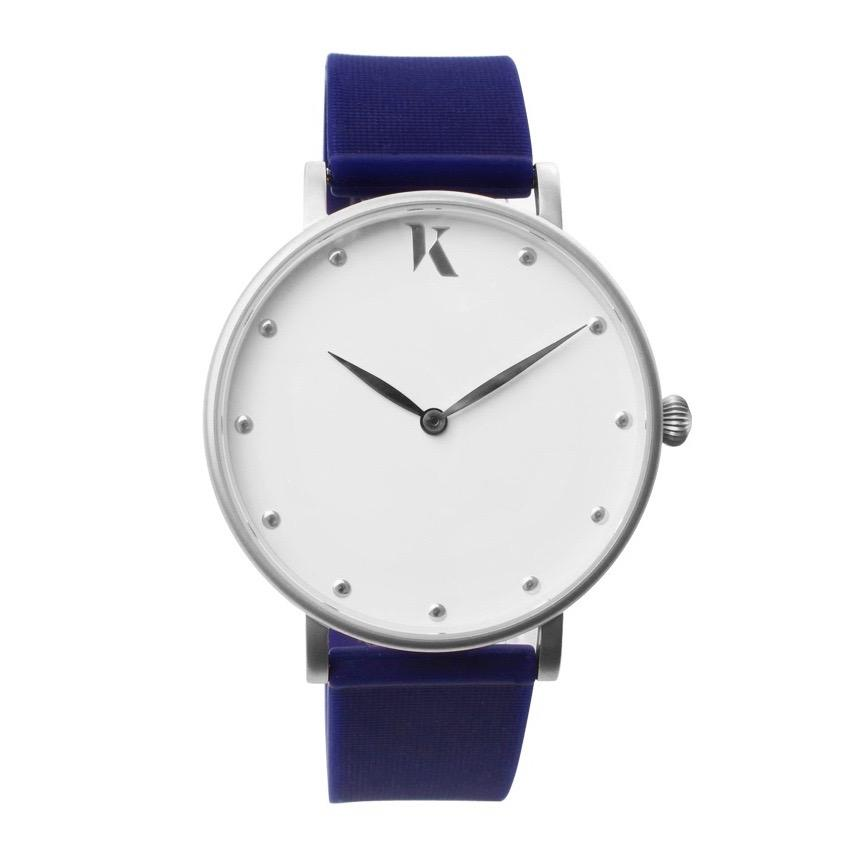 Sapphire Blue & Silver Silicone Watch - Face