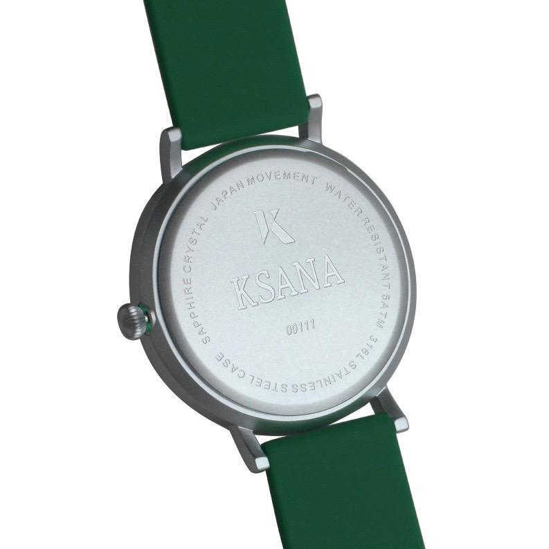 Emerald Green & Silver Silicone Watch - Back
