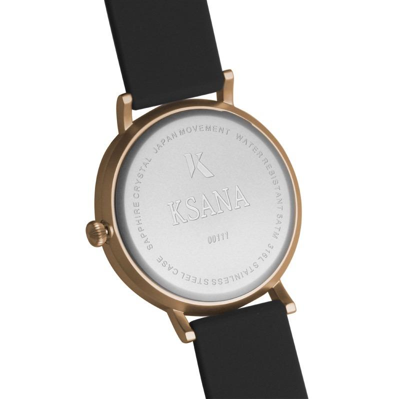 Jet Black & Rose Gold Silicone Watch - Back