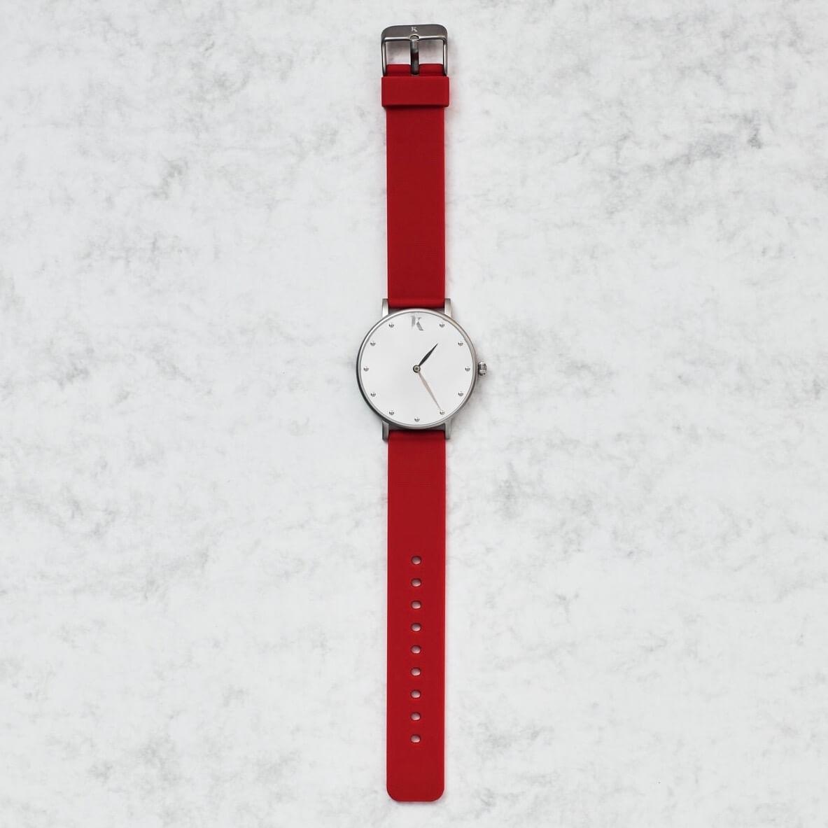Ruby Red & Silver Silicone Watch
