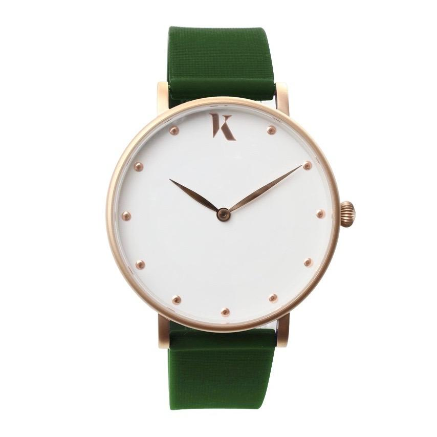 Emerald Green & Rose Gold Silicone Watch - Face