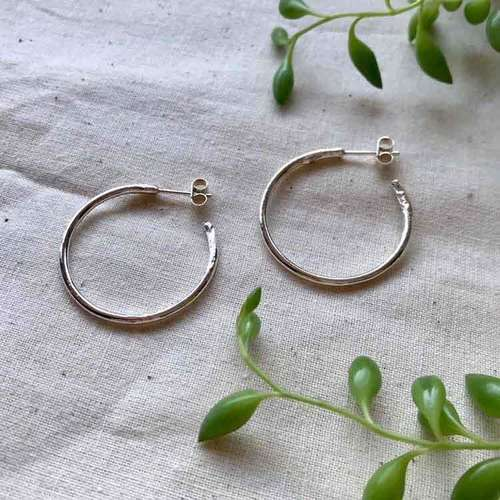 Molten Silver Hoop Earrings