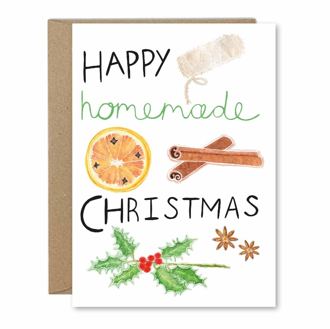 Happy Homemade Christmas - Recycled Greeting Card