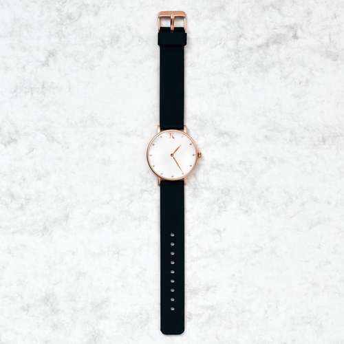 Jet Black & Rose Gold Silicone Watch